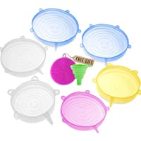 DARUNAXY Silicone Stretch Lids, 6 pcs Assorted Color Same Sizes and Shape of Containers...