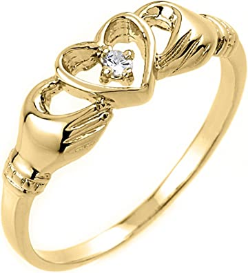 10kt Yellow Gold Unisex Classic Claddagh Ring at a Very Affordable Price.