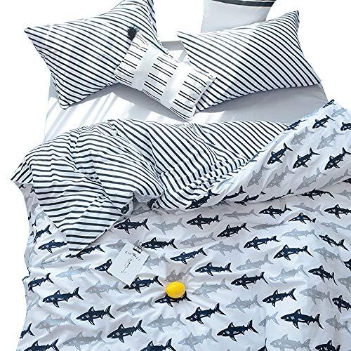 BuLuTu Navy Blue/Grey Shark Print Pattern Cotton US Twin Kids Bedding Duvet Cover Sets(1 Duvet Cover 2 Pillow Shams) White Quilt Bedding Sets For Kids Boys With 4 Corner Ties Wholesale