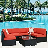 Kinbor 7 PCs Garden Furniture PE Rattan Wicker Outdoor Sofa Sectional Furniture Cushioned Deck Couch Set,Orange Cushion