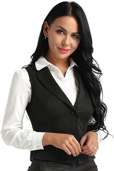 Agoky Chaleco Mujer Chica Vestimenta Classico Traje Formal de Fiesta Ceremonia Bautizo Boda Algodón Camisa sin Mangas V Cuello Botones Uniforme Camarera Suit Vest Waistcoat: Amazon.es: Ropa y accesorios