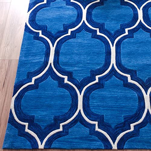 Pino Classic Royal Blue Moroccan Trellis Area Rug 5×7 5 x 7 6 Modern Lattice Hand Made Carved Tufted Looped Pile Thick Plush Soft Vintage Overdyed