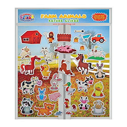Christmas Window Gel Stickers - Farm Animals (by Incredible Gel and Window Clings) Reusable Puffy Stickers for Kids and Toddler Rooms, Windows, Walls, Bedrooms, Plane Travel - Horses, Ducks, Chickens, Cat, Bunny, Pig and More