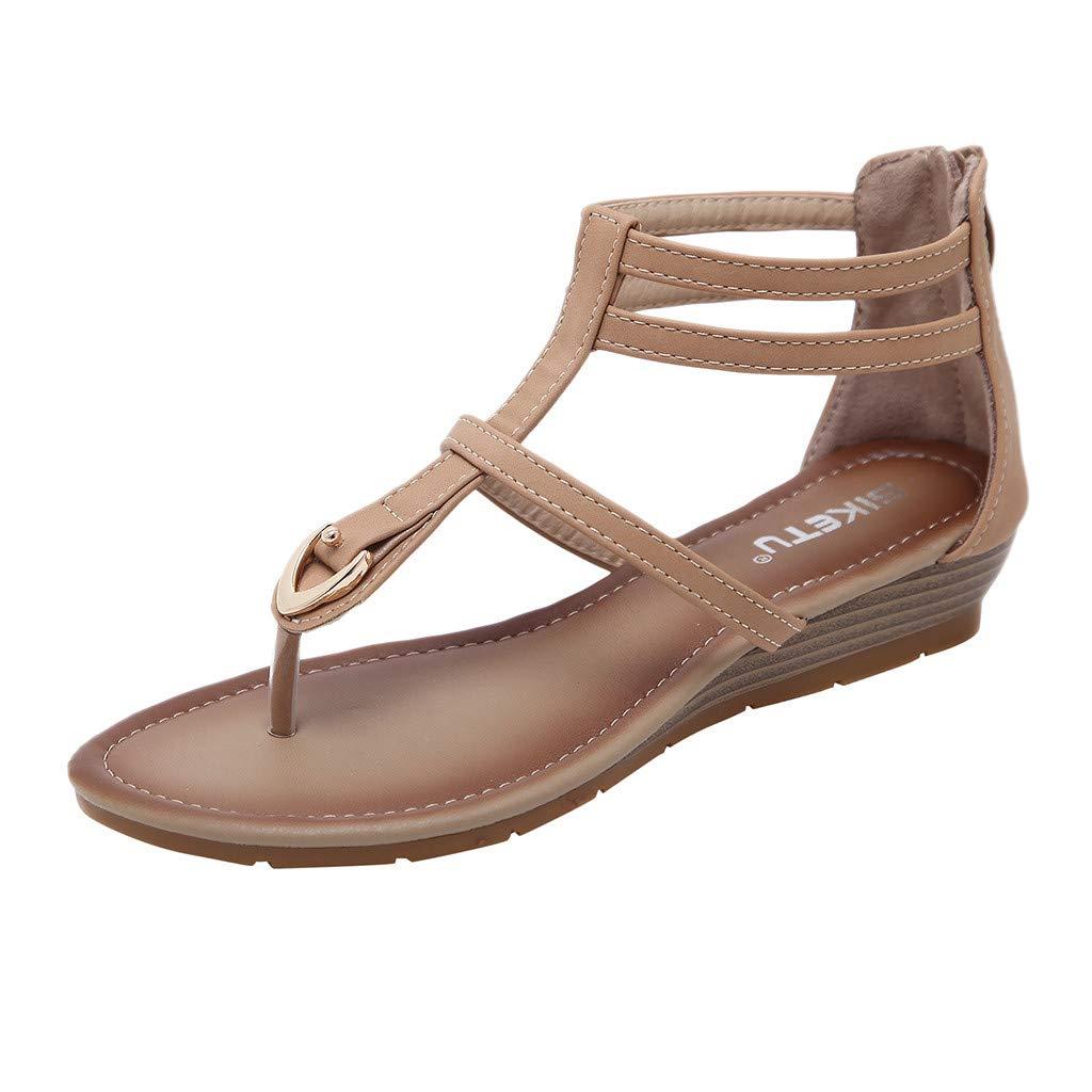 {Minikoad}Women Rome Sandals,Ladies Low Heel Sandals Zip Wedges Shoes (US:5.5, Beige)