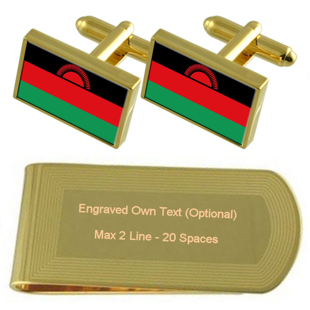 Malawi Flag Gold-tone Cufflinks Money Clip Engraved Gift Set
