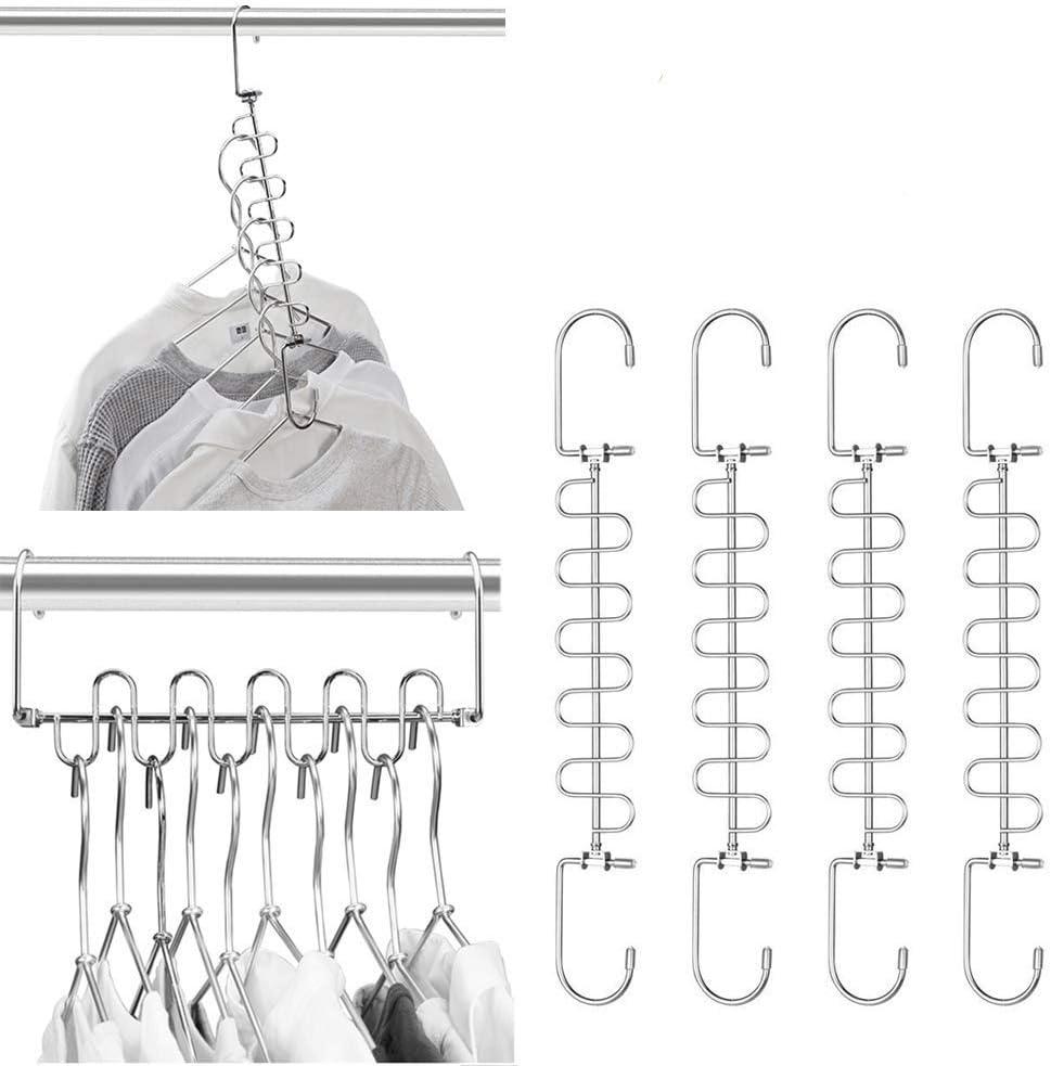Meetu Magic Cloth Hanger Space Saving Hangers Metal Closet Organizer for Closet Wardrobe Closet Organization Closet System (Pack of 4)