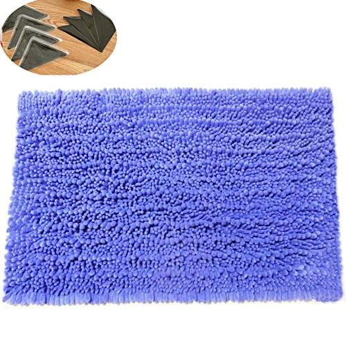 HomDSim 18x28 inches with 4 Non-Slip Pad Shaggy Bathroom Bath Shower Rugs Mat Carpet Soft Chenille Plush Absorbent Microfiber for Laundry Room Kitchen Livingroom Hallway Bedroom Floor Blanket Washable