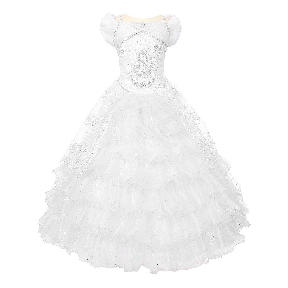 Rainkids Big Girls White Virgin Mary Sparkly Tulle Organza Communion Dress 7