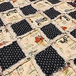 Baby toddler rag quilt vintage farm scen...