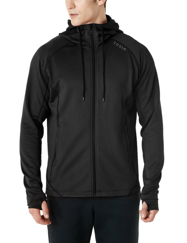 Tesla TM-MKJ03-BLK_Medium Men's Performance Active Training Full-zip Hoodie Jacket MKJ03 by Tesla