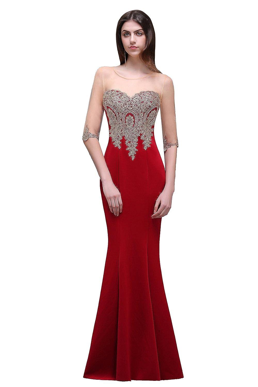 Babyonline® Damen Lang Applique 3/4 Masche Arm Abendkleider Ballkleid Brautjunfernkleider Lang GR.32~46
