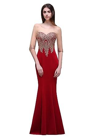 d29985d60b7 MisShow® Damen Lang 3 4-Arm Applique Abendkleid Ballkleid  Brautjunfernkleider Cocktailkleid 2017  Amazon.de  Bekleidung