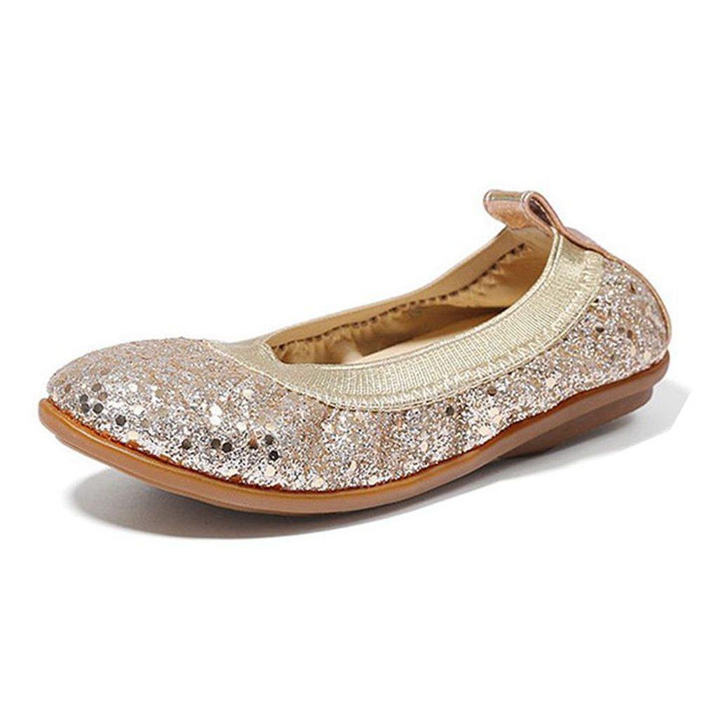 GIY Baby Girls Dress Ballet Glitter Comfortable Soft Rubber Slip On Princess Shoes(Toddler/Little Kid)