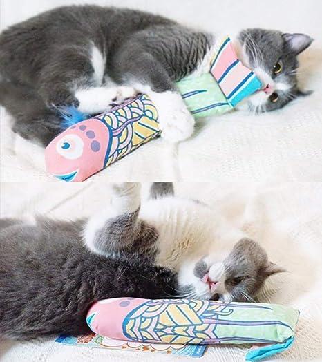 Gato Menta Pez Gato juguete Gatos Inter activo juguete Cojín con gato Menta Catnip