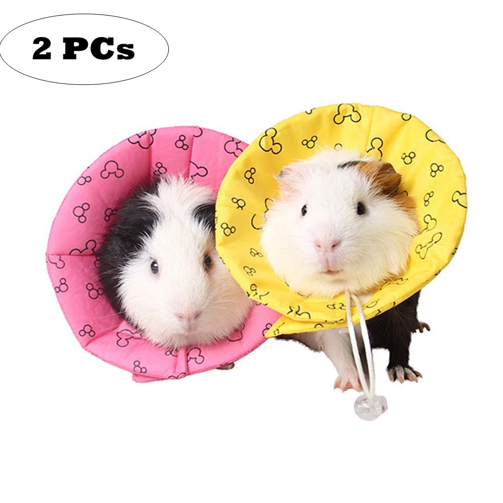 2 PCs Hamster Rabbit Protection Cone Neck Recovery Collar, Elizabeth Anti-Water E-Collar Cone for Small Animals,Comfy Soft Pet Neck Cone for Guinea Pigs Squirrel Mice Chinchilla (L: Inner Size=2'') by Naivedream