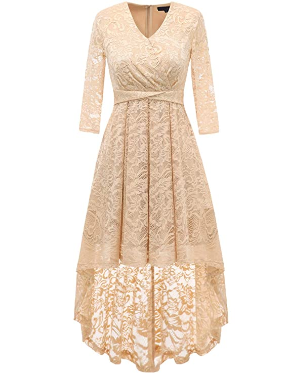 Steampunk Dresses | Women & Girl Costumes DRESSTELLS Womens Vintage Floral Lace 3/4 Sleeves Dress Hi-Lo Cocktail Party Swing Dress $38.99 AT vintagedancer.com