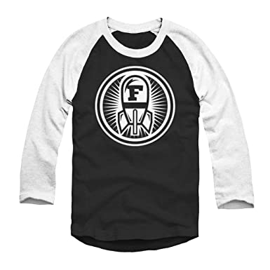 Rocket Factory F-Bomb Graphic Logo Baseball Style Tee Black with White Sleeves Small