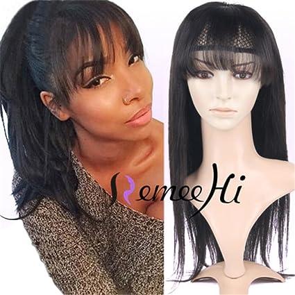Remeehi seda recta sin pegamento Lace Front Peluca 130% densidad Cabello humano pelucas para las