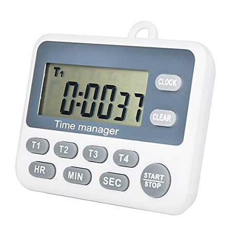 Digital 4 Channel Groups Count Down UP Timer with Clock for Cooking School Meeting Laboratory Parking Noon Break Beauty Salon