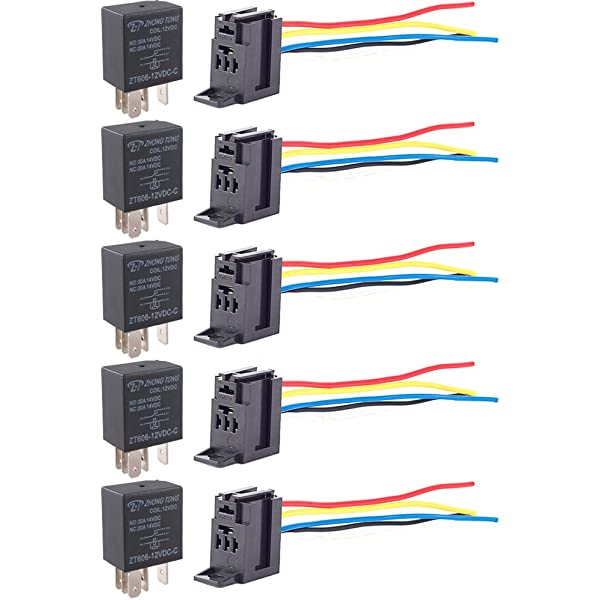 ESUPPORT Car Relay 12v 40a Spdt 5pin Pack of 10