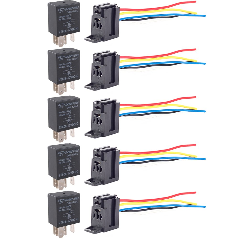 Amazoncom E Support Car Relay 12v 30a Spst 4pin Socket Pack of 5