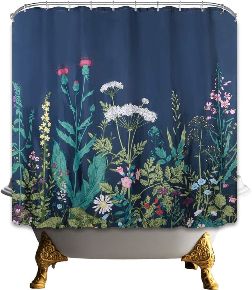 TIAQUN Flower Floral Shower Curtain,Watercolor Floral Plant Border Herbs and Wild Flowers Botanical Engraving Style Boho Shower Curtain Nature Scenery Shower Curtain for Bathroom Decor 59x70Inch.