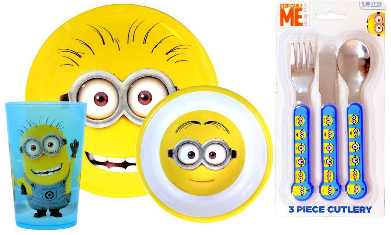 Despicable Me Minions 6 Piece Dinner Set | Tumbler, Bowl, Plate, Knife, Fork and Spoon Zak