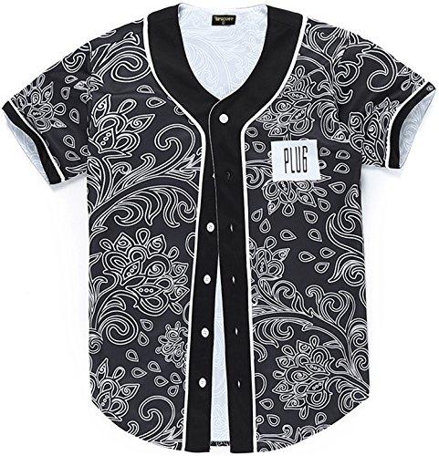 PIZOFF Short Sleeve Floral Jersey Black Baseball Shirt Y1724-31-XL