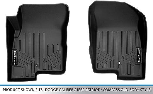 2007-2017 Jeep Patriot//Compass Old Body Style SMARTLINER Floor Mats 1st Row Liner Set Black for 2007-2012 Dodge Caliber