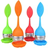 Bekith Tea Infuser - Set of 4 Silicone Handle Stainless Steel Strainer Drip Tray Included - Loose Tea Steeper - Best Tea Infuser for Loose Leaf or Herbal Tea