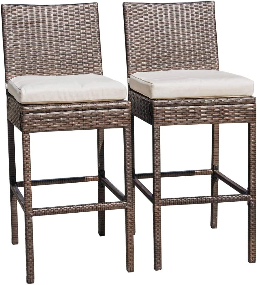 Sundale Outdoor 2 Pcs All Weather Patio Furniture Brown Wicker Barstool with Cushions, Beige
