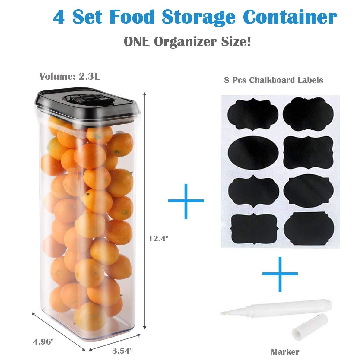 4 piezas mantiene los alimentos frescos secos con etiquetas y marcador de tiza Contenedor de almacenamiento de alimentos con tapas sin BPA pl/ástico herm/ético
