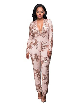 5f7038b6c09e Kearia Women Deep V Neck Playsuit Sequins Print Back Zipper Long Pants  Jumpsuit Rose Gold Small