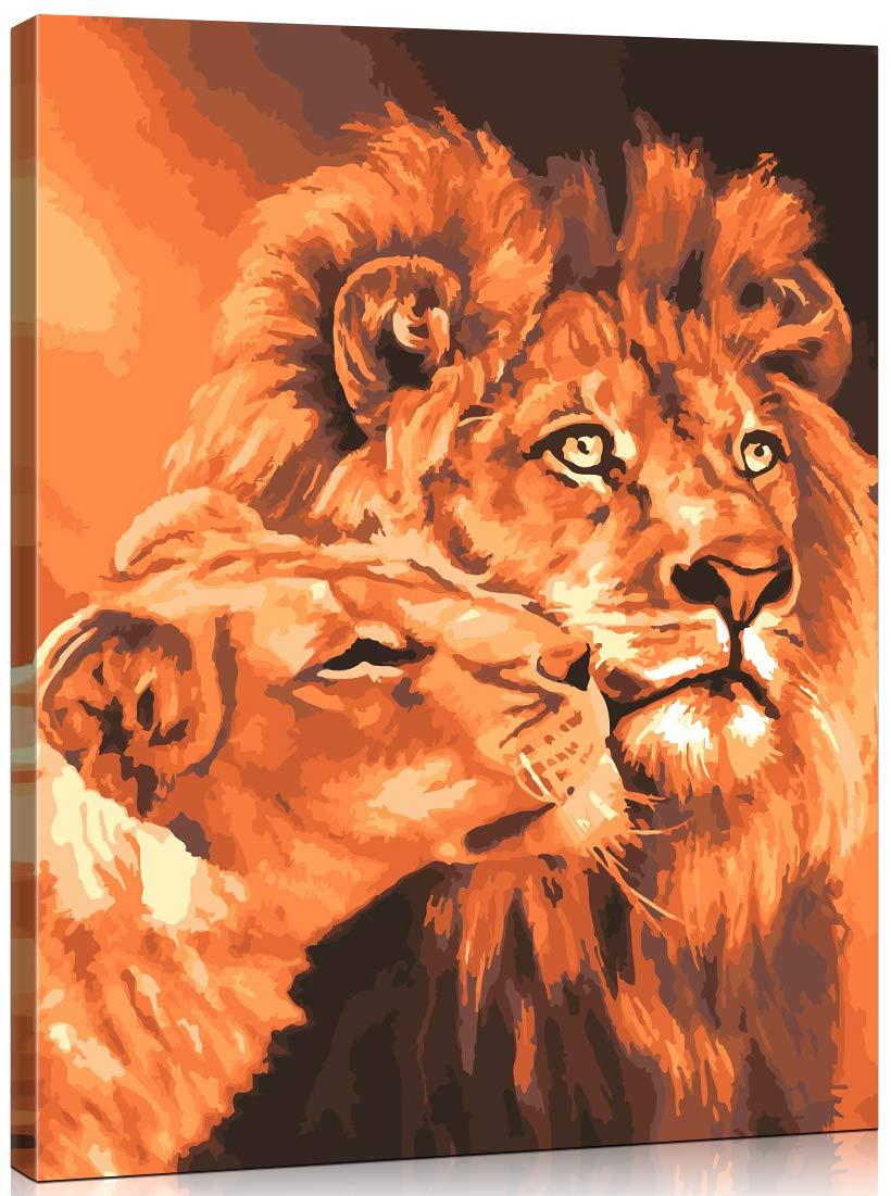 WONZOM Sin Marco DIY Pintura al /óleo Pintura por N/úmeros Kit para Adultos Ni/ños - Perro de ne/ón Animal Colorido 16 * 20 Pulgadas