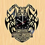 Cheap Lazy Wings Motorcycle Symbols Design Vinyl Record Wall Clock – Gift Idea for Friends, Men and Women – Contemporary Home or Office Wall Art Decoration