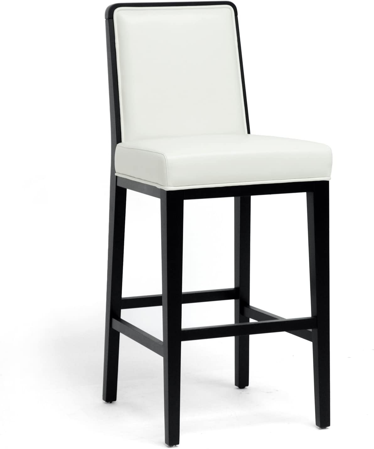 Baxton Studio Theia Black Wood and Cream Leather Modern Bar Stool