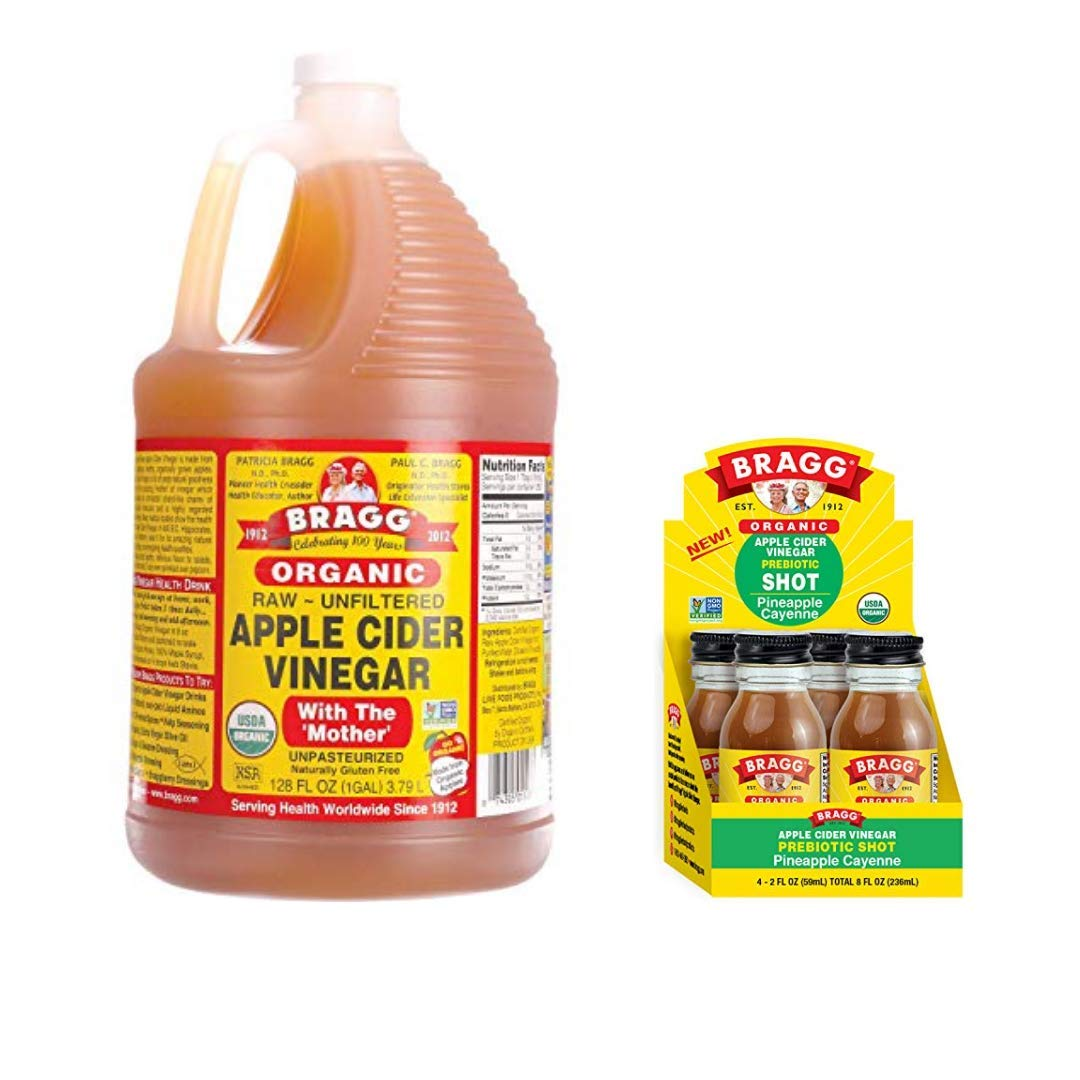 Bragg Organic Apple Cider Vinegar With the Mother 128 ounce and Bragg Organic Apple Cider Vinegar Shot with Pineapple Cayenne 2 ounce ACV Shot Pack of 4 Bundle