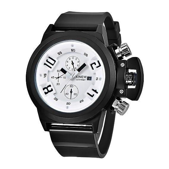 Rosepoem Relojes deportivos Relojes de los deportes al aire libre reloj deportivo banda de goma calendario de la moda del reloj para los hombres: Amazon.es: ...