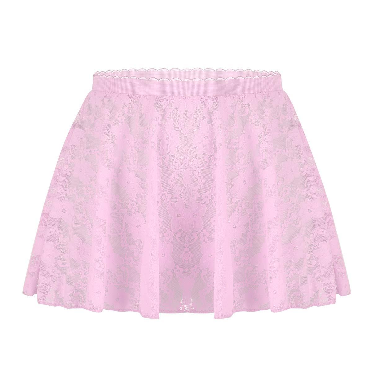 Freebily Kids Girls Dance Basic Classic Chiffon Mini Pull-On Wrap Skirt Pink (Lace) 5-6