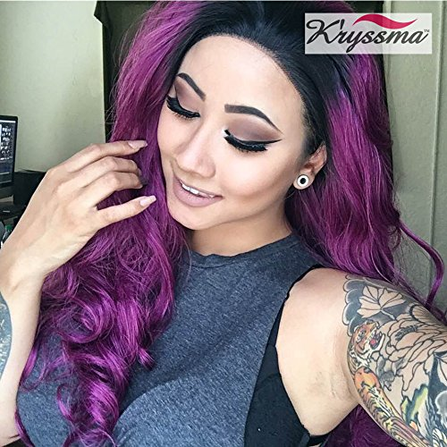 K'ryssma Lace front Wigs for Women - Long Wavy Purple Wig Ombre Dark Roots Heat Resistant Glueless Synthetic Hair Wigs 24 inches + 2 Pcs Wig Caps]()