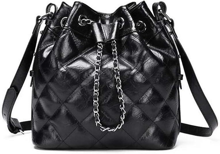 Hardworking bee Damentaschen Rindsleder Umh/ängetasche Rei/ßverschluss Blau//Schwarz//Silber Gro/ße Kapazit/ät Beuteltasche Hoher Geschmack Farbe : Black