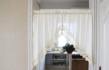 Curtain Scarf Triangle Lace Curtains Short Sheer Drapes Panels Valances Rod Pocket Voile Cafe