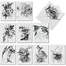M6475OCB Wing Notes: 10 Assorted Blank All-Occasion Note Cards Featuring Detailed Black and White Drawings of Birds in Their Habitat, w/White Envelopes.