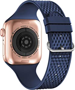 iWabcertoo Compatible with Apple Watch Bands 38mm 40mm, Soft Silicone Sport Watch Bands Wristband Replacement Strap for iWatch Series 6 5 4 3 2 1, SE, Sport Edition, Women Men (Dark Blue)