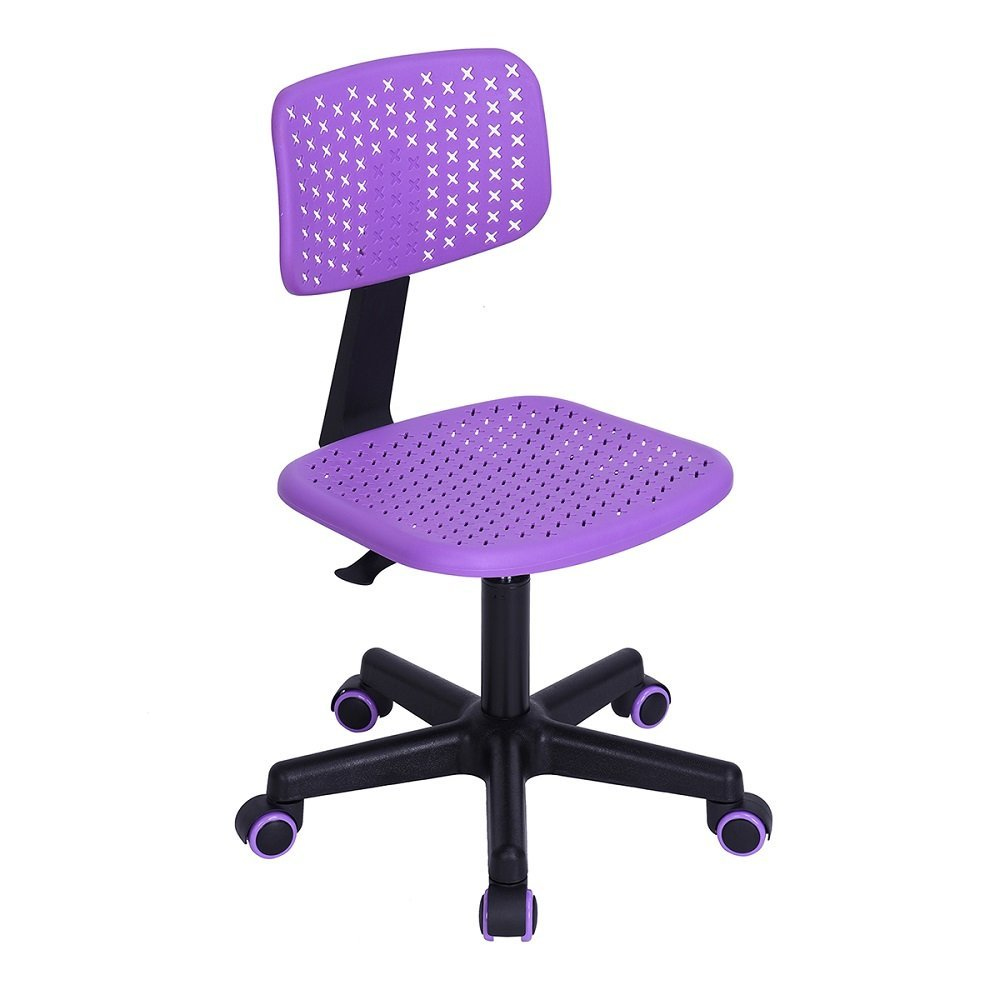 FunitureR Armless Swivel Desk Chair Kids Study Chair plastic Colorful Wheels (Purple)