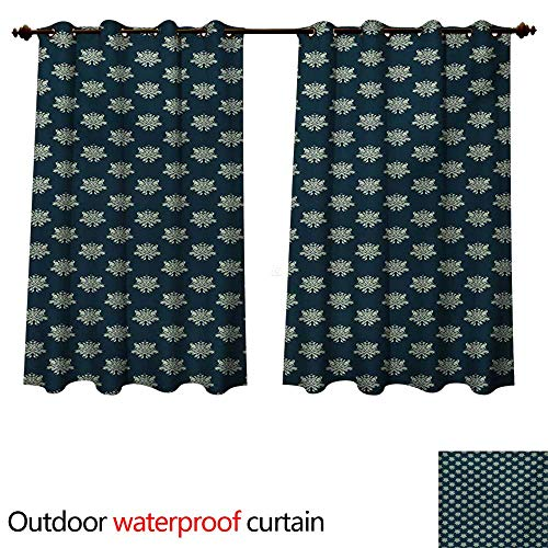 Two Tier Arabesque - WilliamsDecor Victorian Outdoor Curtain for Patio Damask Style Swirls and Foliage Leaves Pattern with Arabesque Motifs W120 x L72(305cm x 183cm)