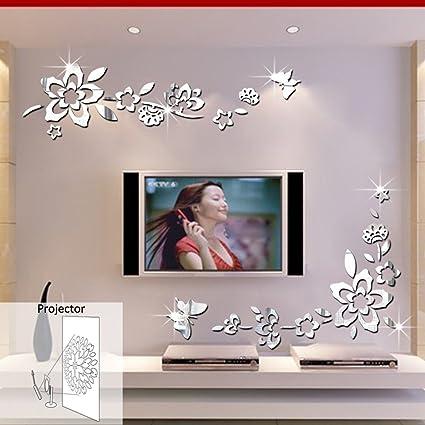 Ufengke® 3D Fiori Diagonali Effetto Specchio Adesivi Murali Fashion ...