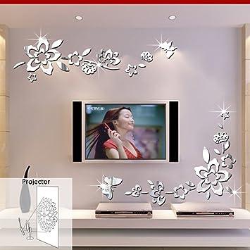 Adesivi Da Specchio.Ufengke 3d Fiori Diagonali Effetto Specchio Adesivi Murali Fashion Design Arte Adesivi Da Parete Decorazione Domestica Argento