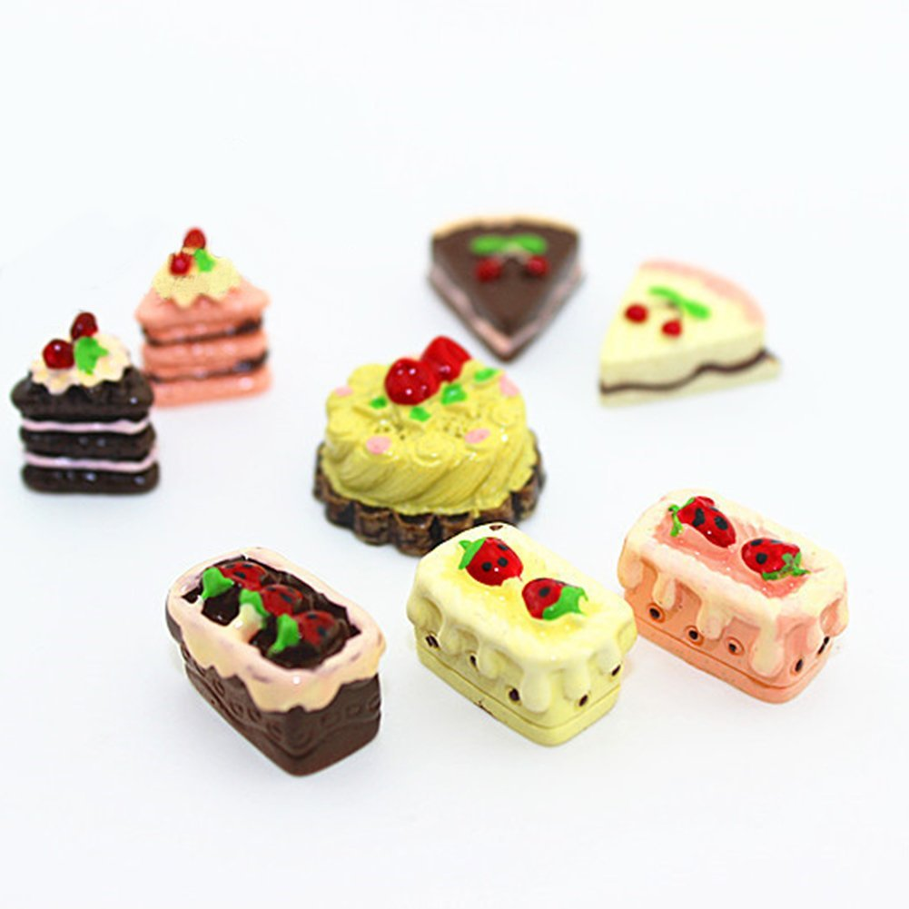 AkoMatial Dollhouse Furniture Accessories, 8Pcs/Set Mini Dollhouse Sweet Food Chocolate Cherry Cake Dessert Decoration