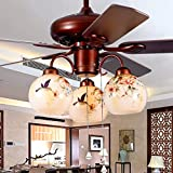 Ceiling fan lights Modern Chinese Ceiling Fan Lamp Wooden Fan Fan Retro Living Room Chandelier Restaurant Lighting Bedroom Fa